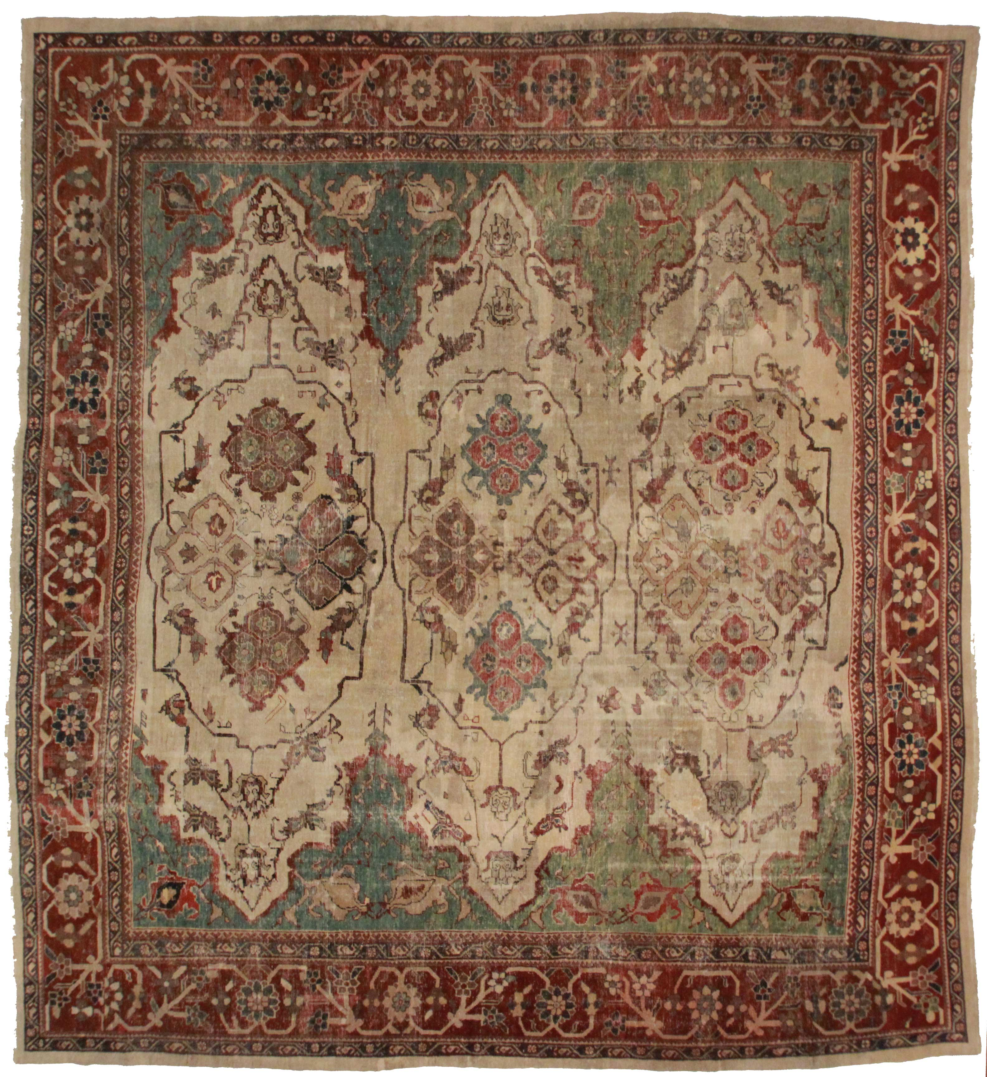 14344 Antique Russian Rug 12 X 14 Persian Sultanabad