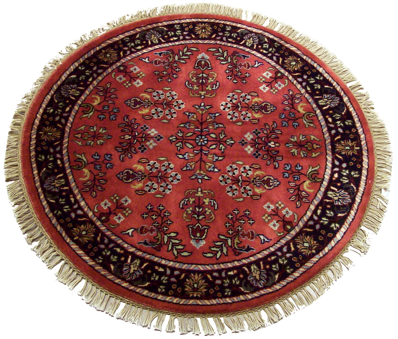 3 Feet Round Persian Sarouk Design Rug 12184