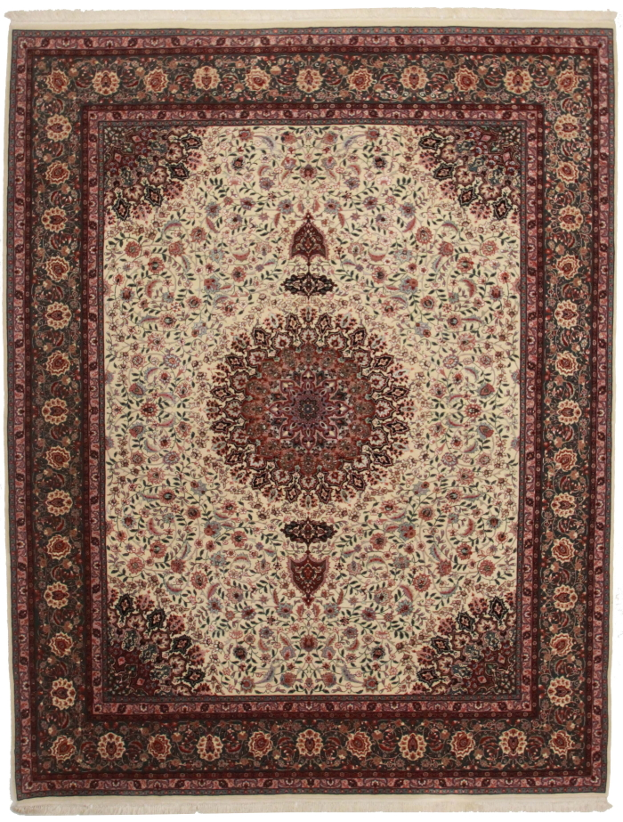 8 x 10 silk wool persian tabriz style rug 14156 for What size rug for 12x12 room