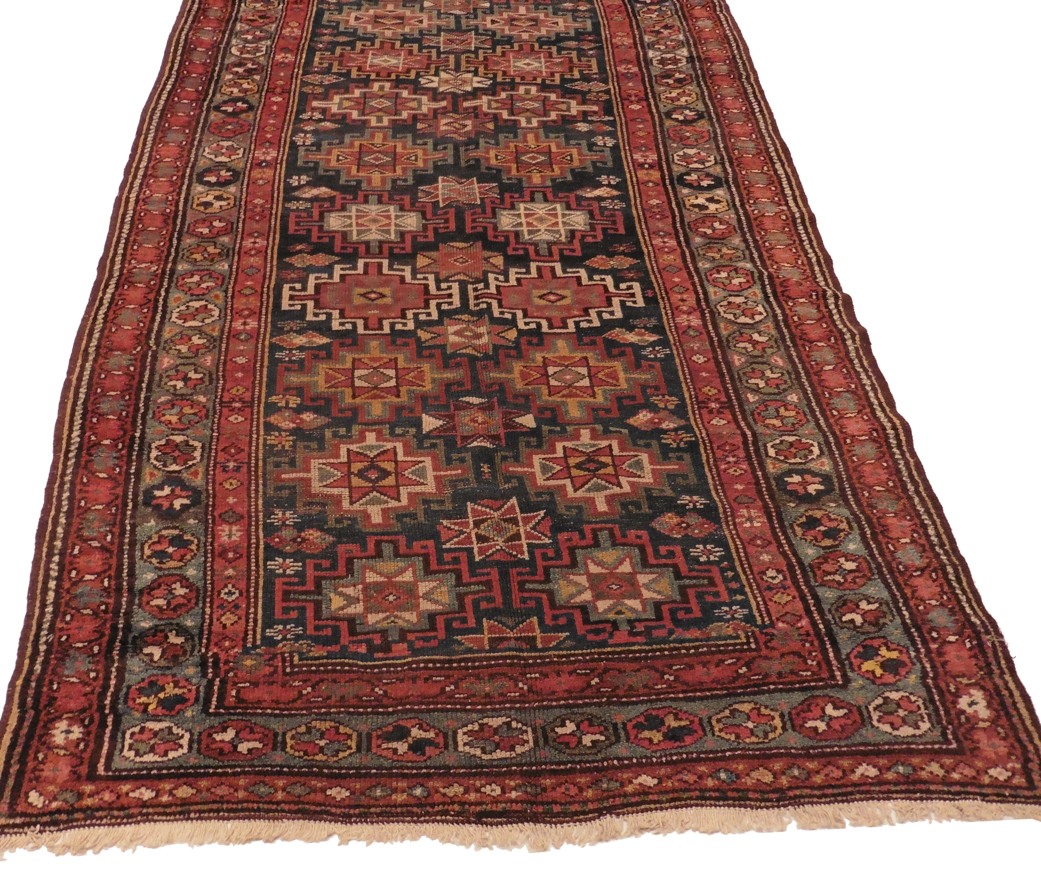 Antique Persian Kordish Runner 5x13 Wool Rug 8019