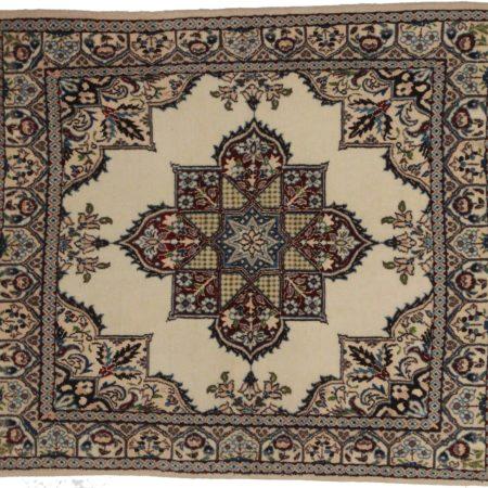 Persian Nain Wool-Silk 3x3 Oriental Rug 8982