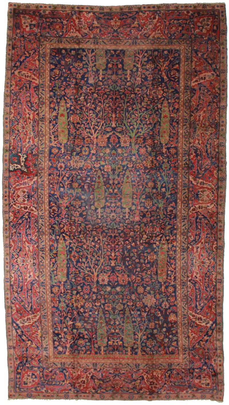 Antique Indian 9 x 17 Wool Oriental Rug 3692