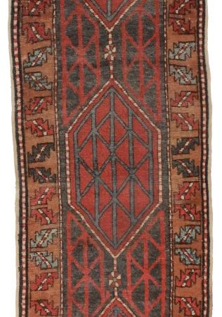 Antique Persian Heriz 3x9 Wool Runner 2164
