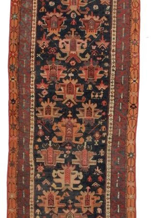 Antique Russian 3x11 Wool Caucasian Runner 1925