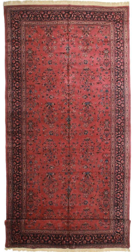 Turkish Sarouk 10 x 23 Wool Oriental Rug 3730