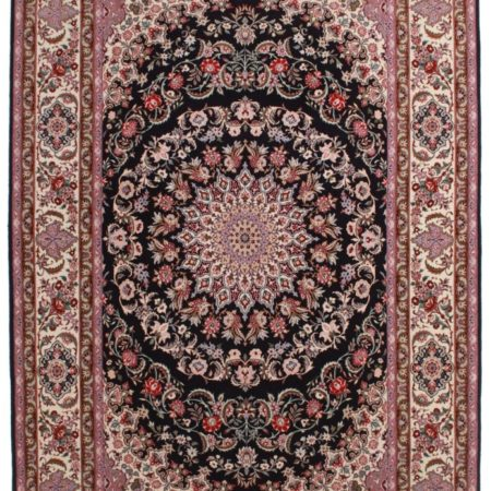 Signed Silk-Wool Vintage Persian Isfahan 7 x 10 Area Rug 14143