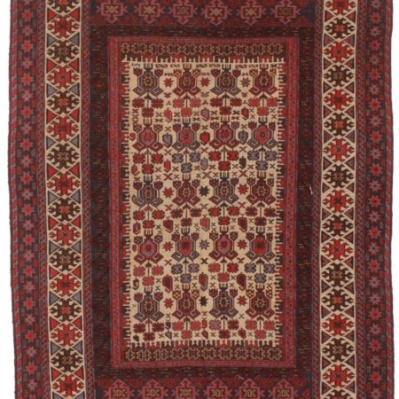 Vintage Hand Woven Wool Soumak 6x9 Rug 10318