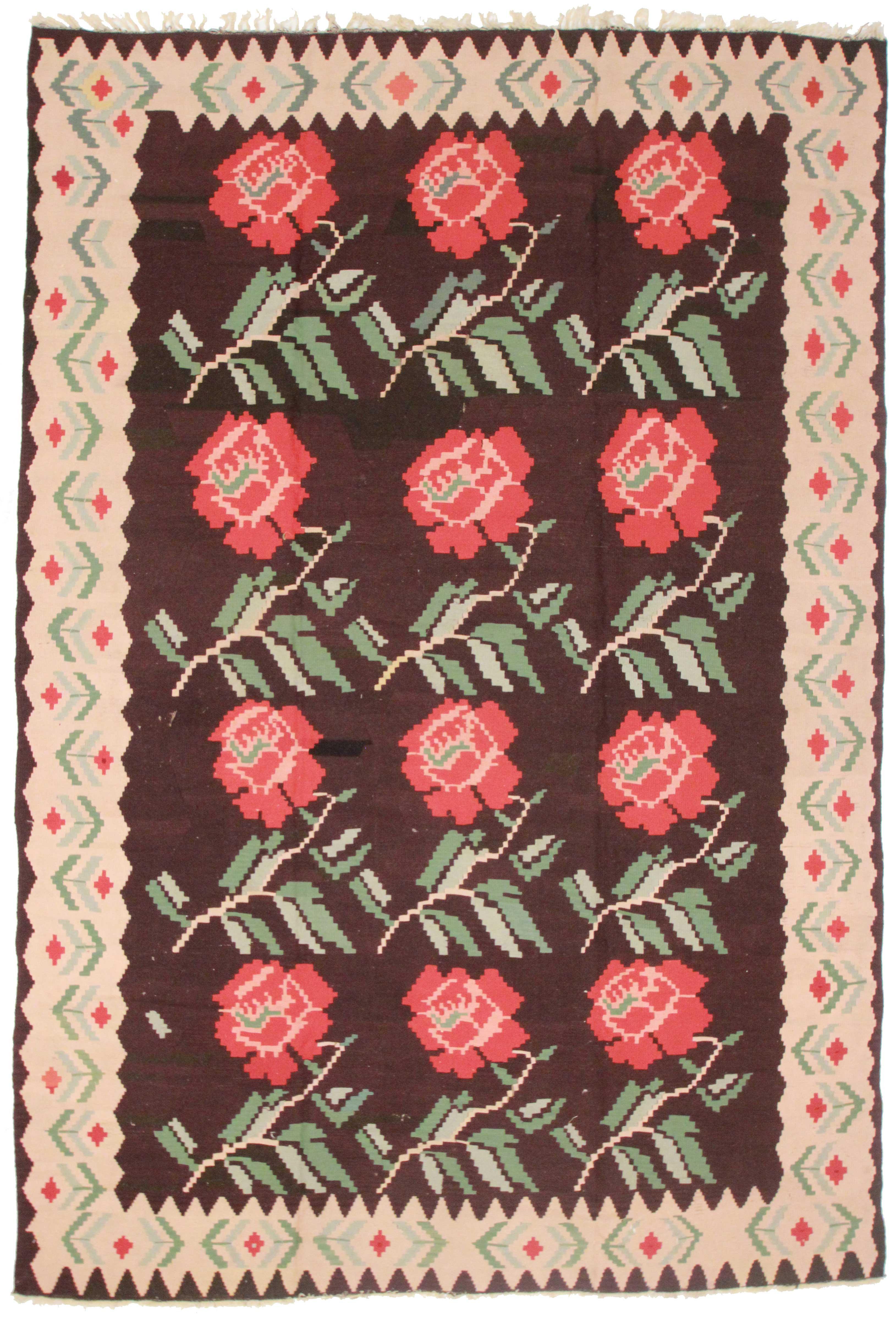Vintage Turkish Wool Kilim 7 X 11 Rug 13614 Exclusive