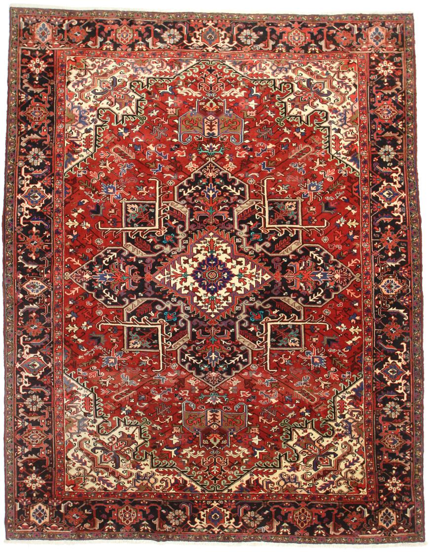 10 X 13 Persian Heriz Rug 14335 Vintage Excellent Condition