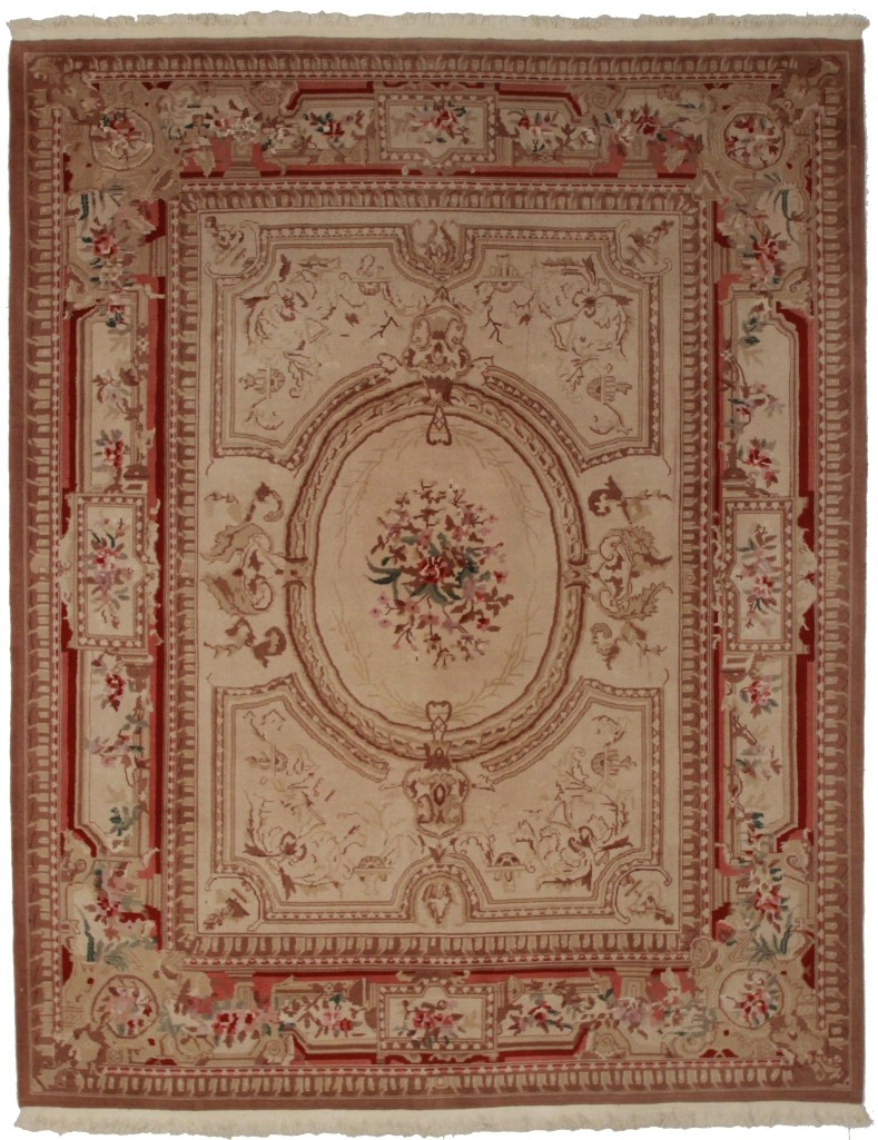 8 x 10 Chinese Aubusson Rug 10219. Hand Knotted.