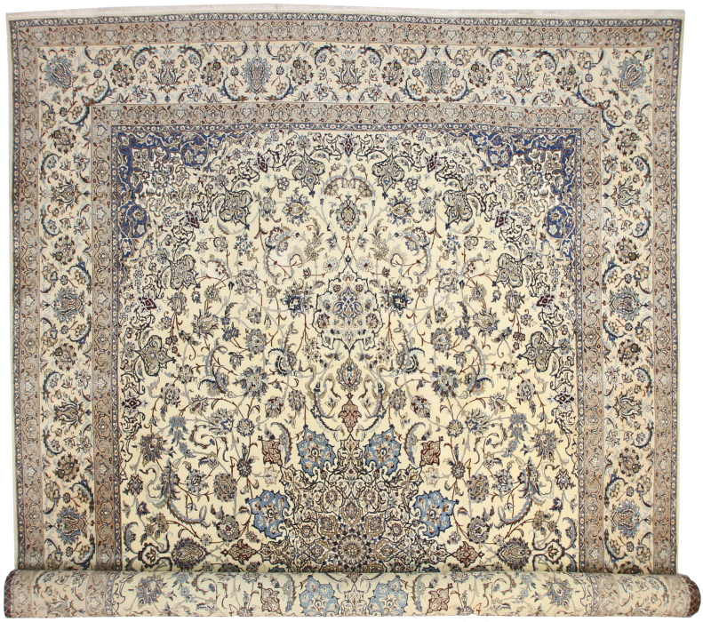 Large Silk Wool Persian Nain Rug 14384