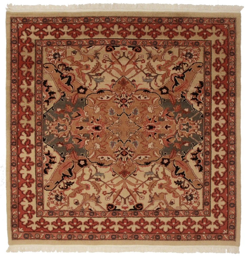 Square agra style rug 11191 hand knotted wool for Home inspired by india rug