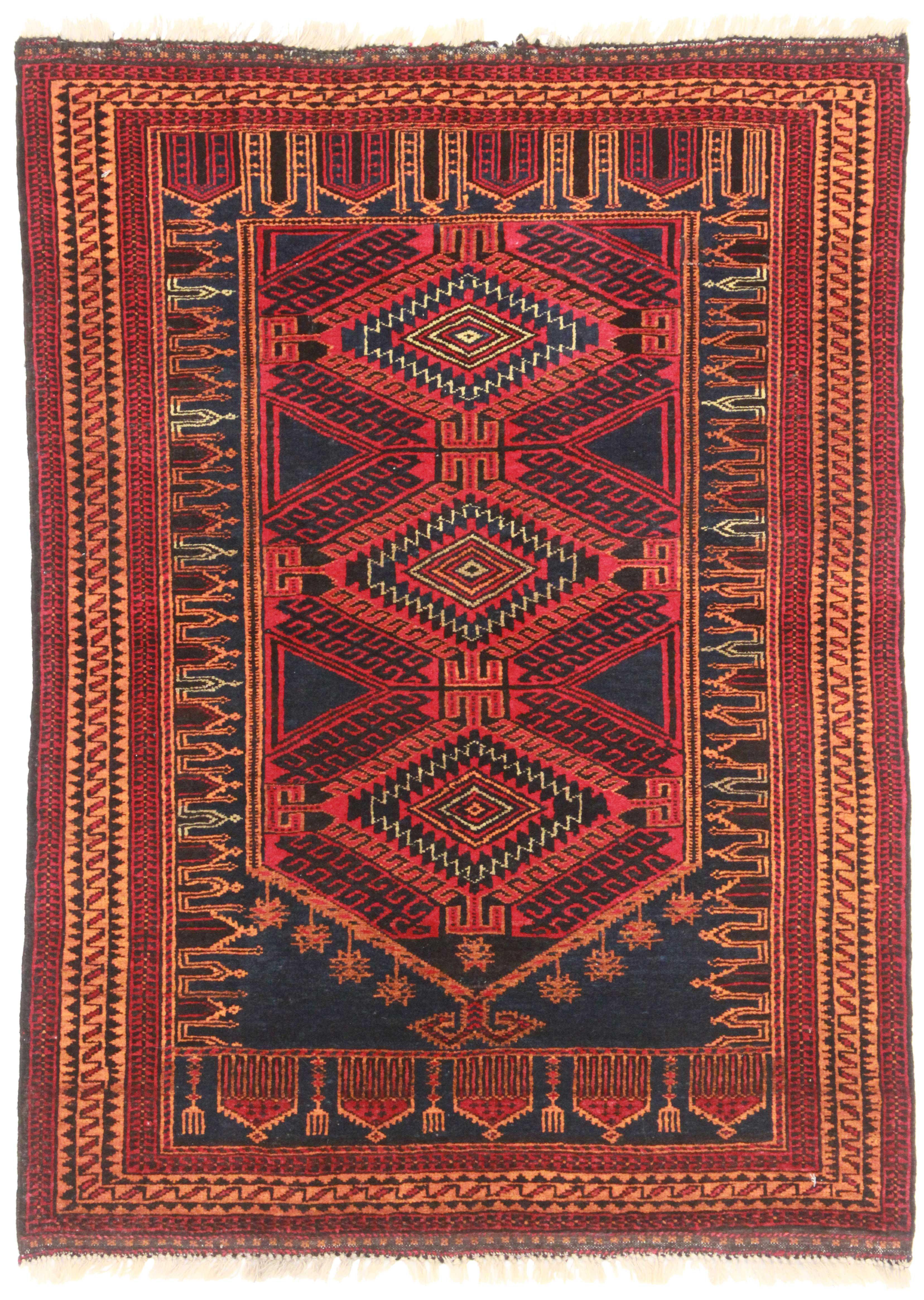 3 X 4 Vintage Afghan Wool Turkmen Rug 9321 Exclusive
