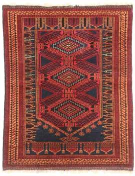3 x 4 Vintage Afghan Wool Turkmen Rug 9321