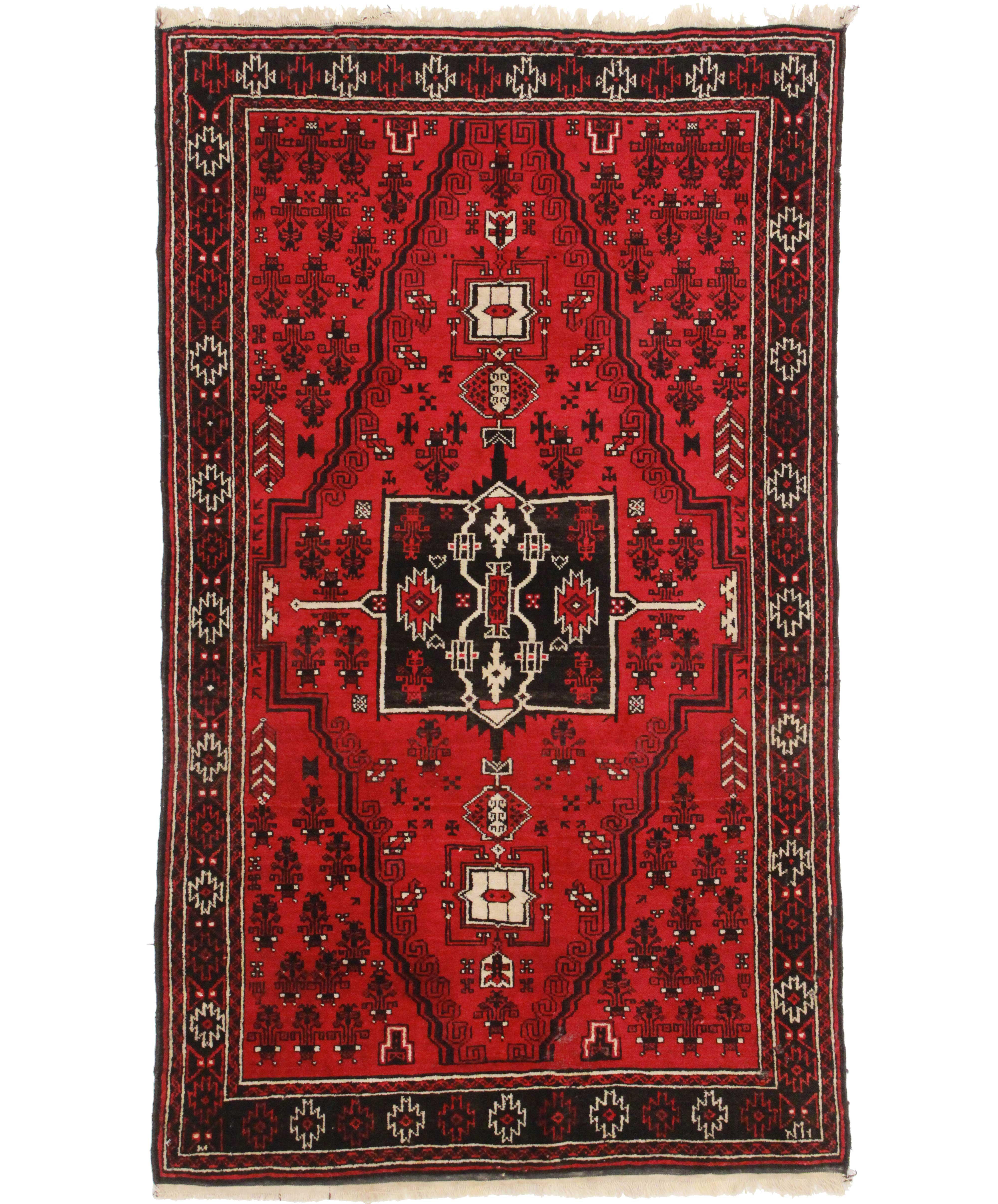 Antique Afghan Rugs: 4 X 6 Vintage Turkmen Afghan Wool Rug 9271