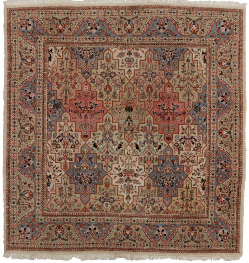 5 x 5 Square Vintage Persian Tabriz Wool Rug 14226