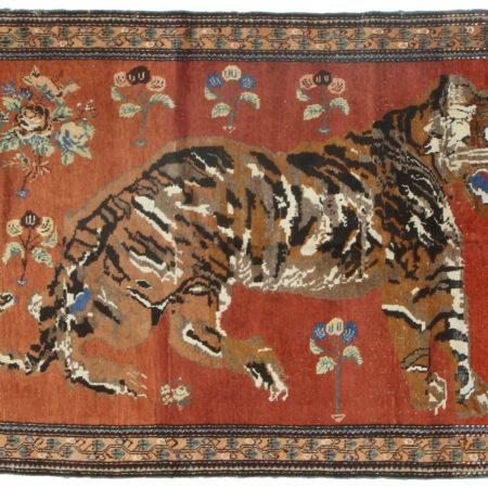 Vintage Hand Knotted Karabeh Persian Tiger Rug