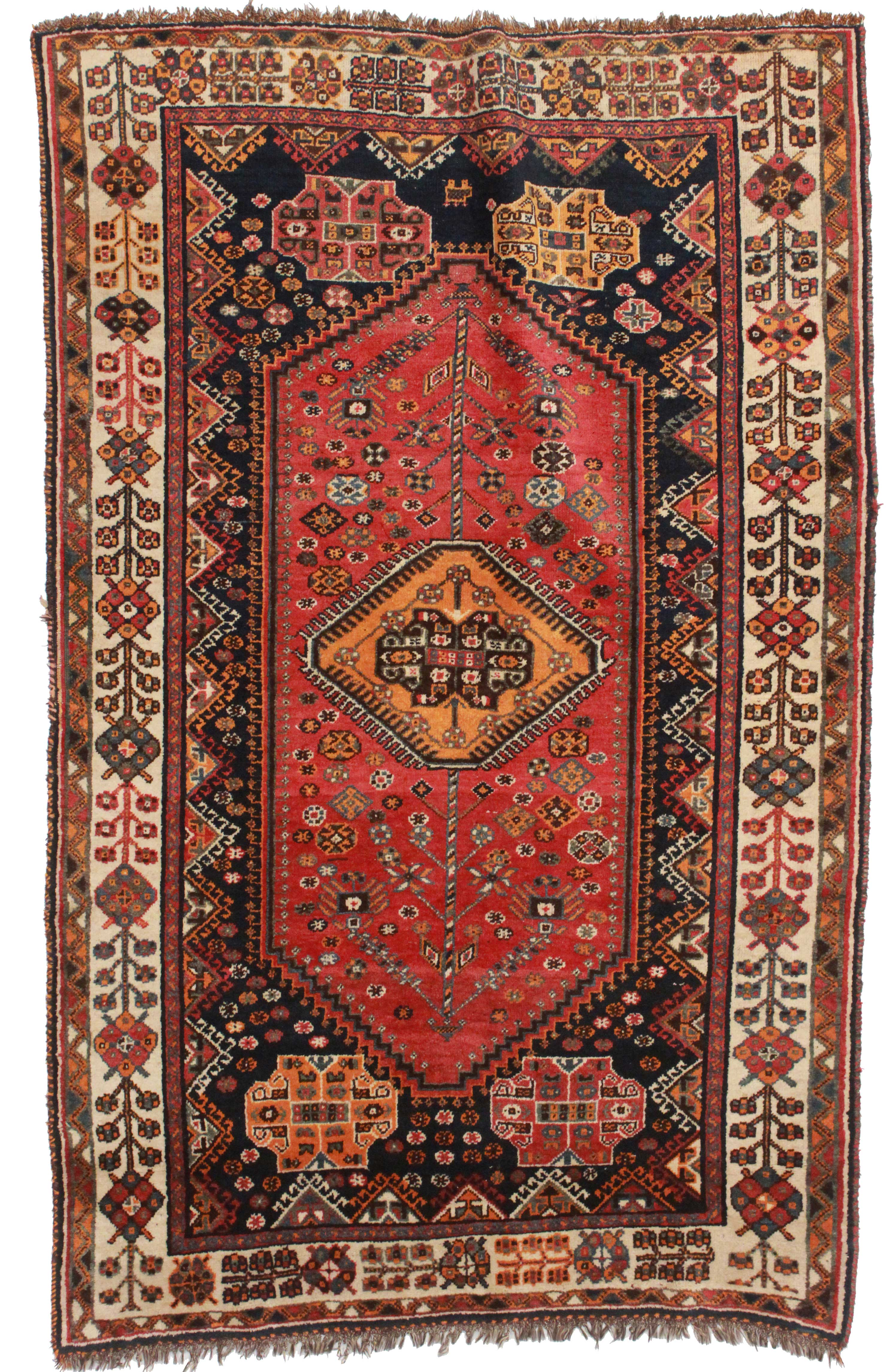 5 x 7 vintage persian shiraz wool rug 10624 exclusive oriental rugs. Black Bedroom Furniture Sets. Home Design Ideas