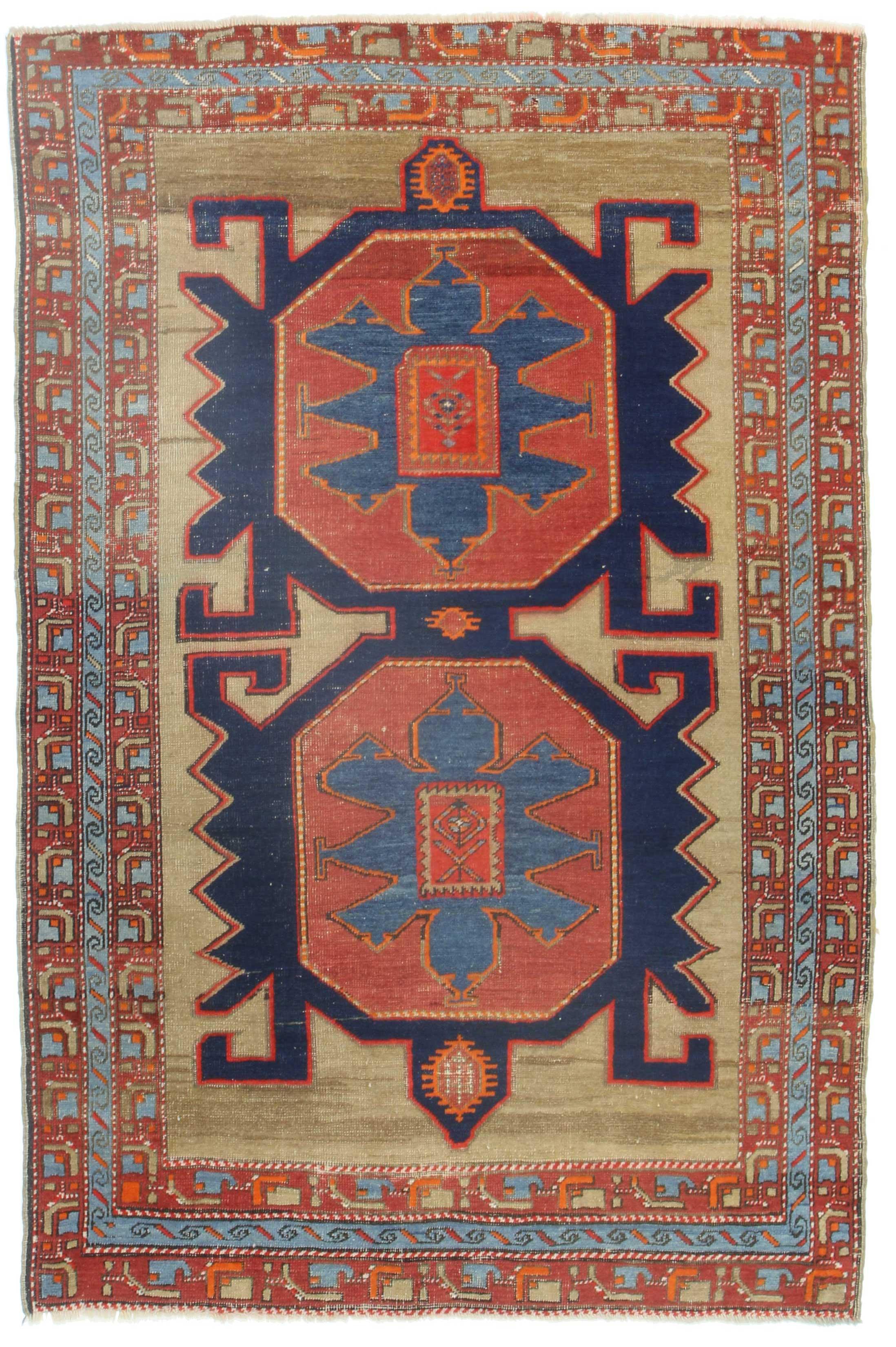 4 x 6 antique russian wool rug 14344 | exclusive oriental rugs