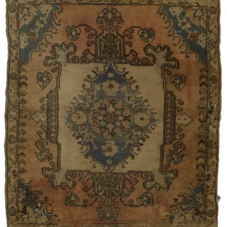 Square Antique Turkish Wool Rug 14277