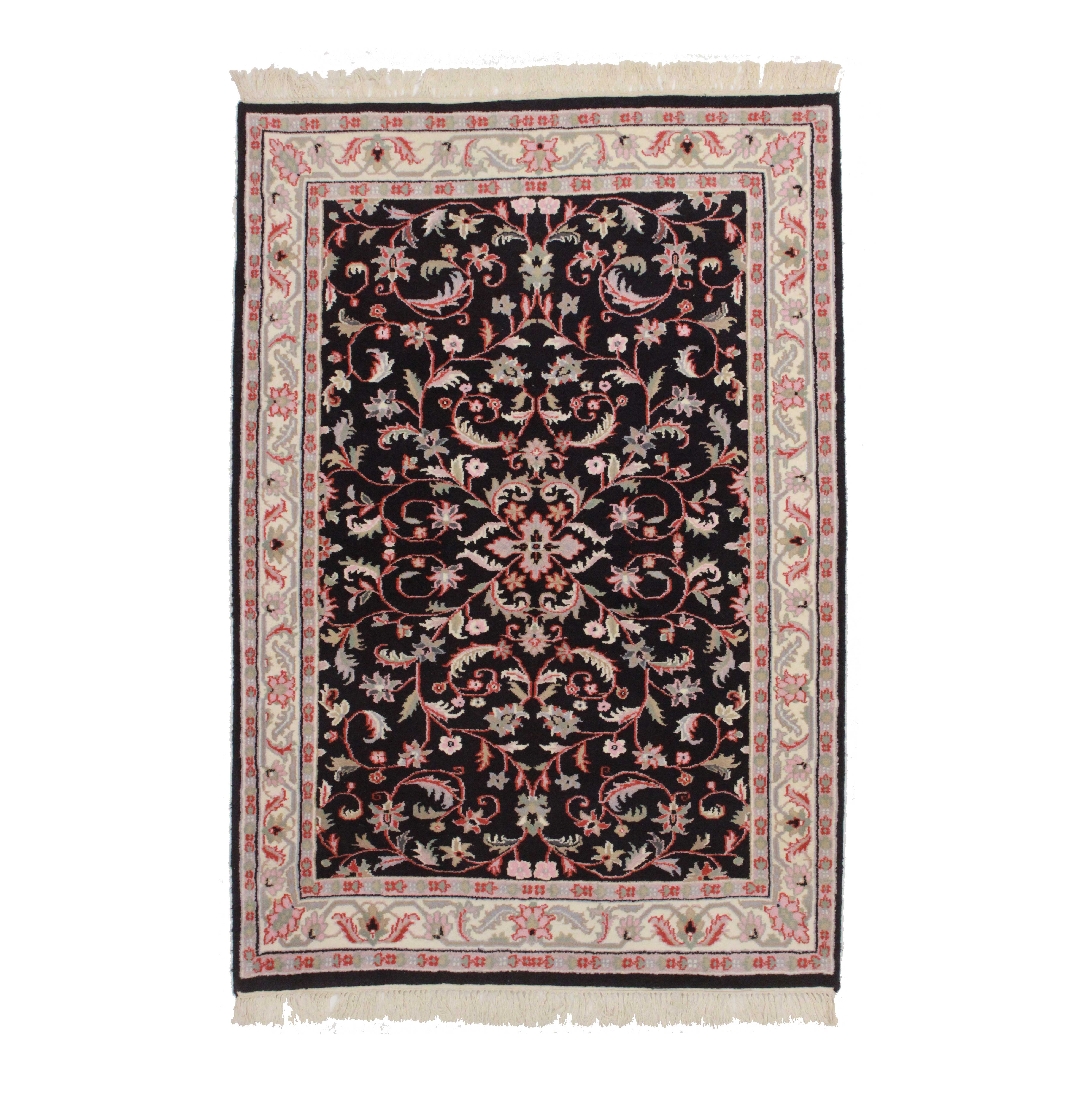 4 x 6 Persian-Style Hand Knotted Wool