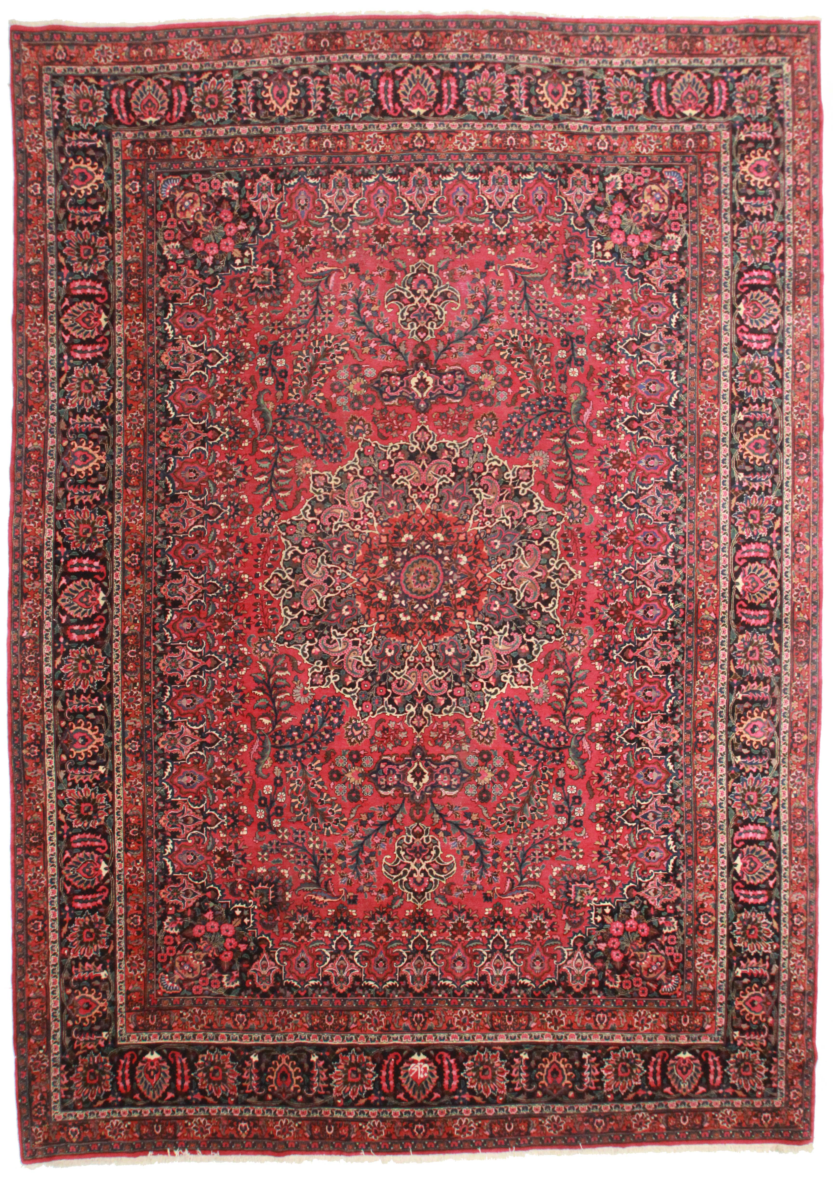 112″ x 159″ antique wool persian mashhad rug 10592